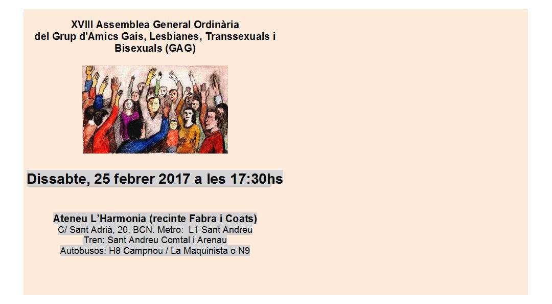 XVIII Assemblea General Ordinària del Grup d'Amics Gais, Lesbianes, Transsexuals i Bisexuals (GAG)
