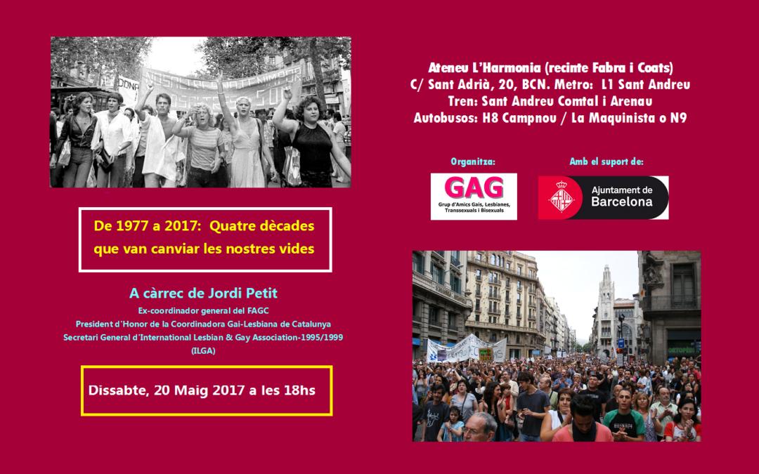 De 1977 a 2017:  Quatre dècades  que van canviar les nostres vides  A càrrec de Jordi Petit