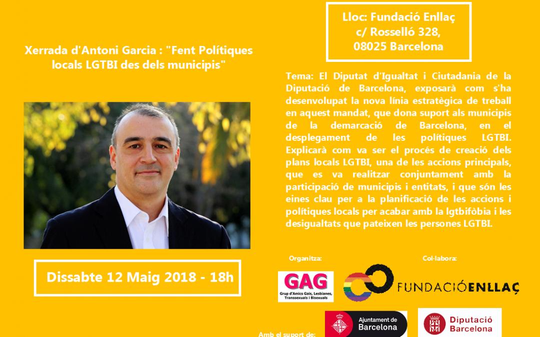 Xerrada d'Antoni Garcia – 12 Maig 2018 – 18h