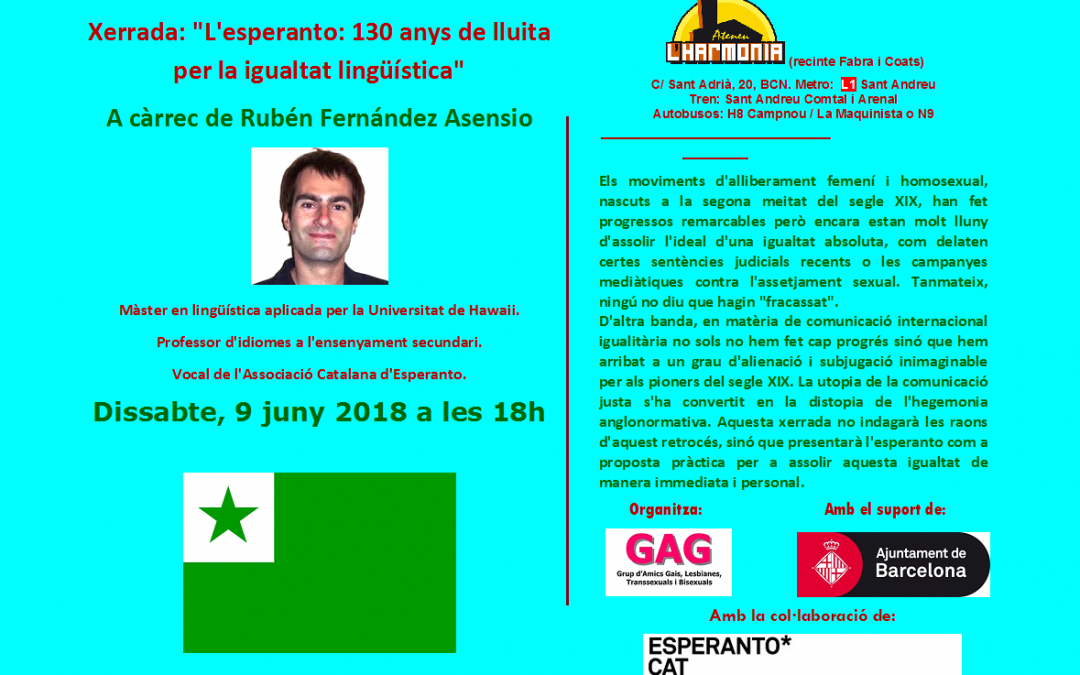 Xerrada L'Esperanto. 9 juny a les 18 hs