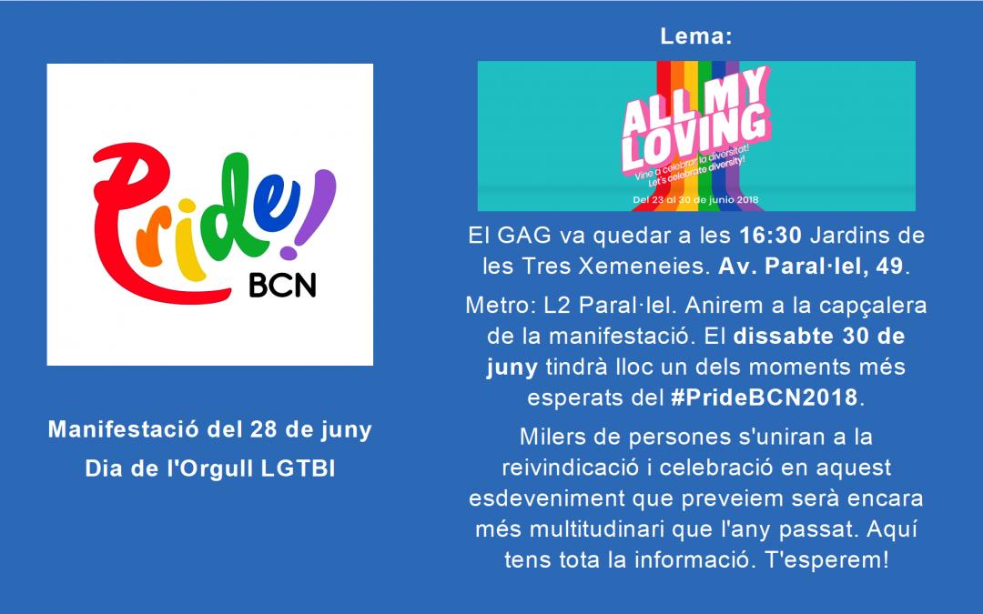 Dissabte 30 juny: Manifestació del #PrideBCN2018