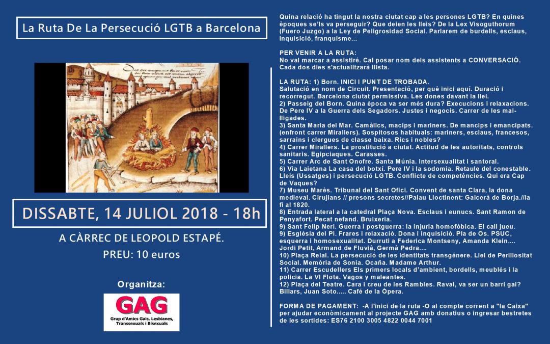 La Ruta De La Persecució LGTB a Barcelona – 14 Juliol 2018 – 18h