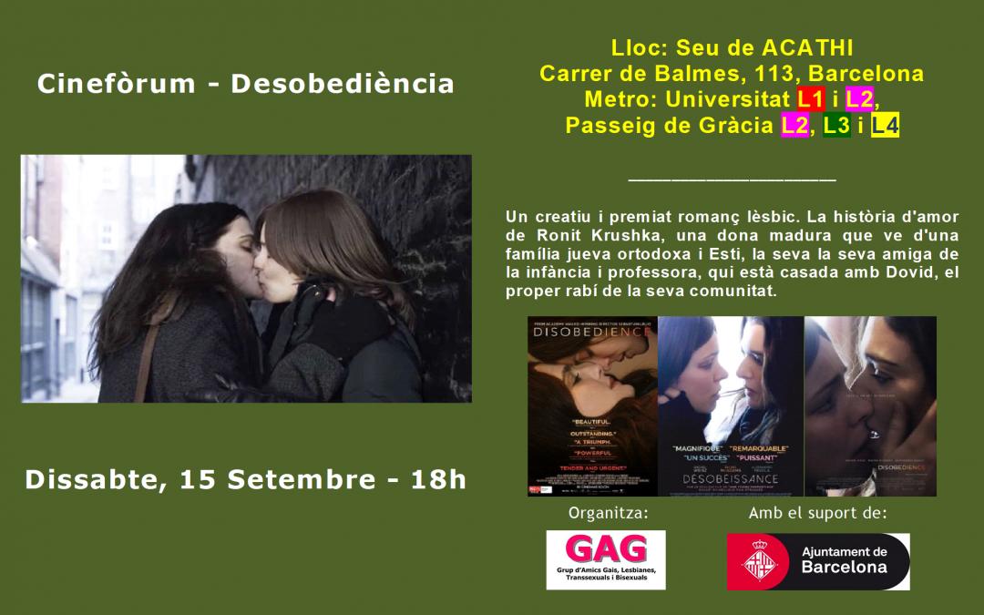 Cineforum – Desobediencia – 15 Septiembre a las 18h