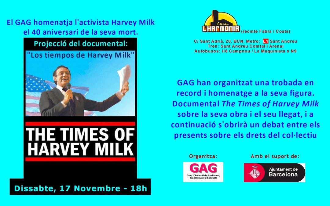 "Projecció del documental: ""Los tiempos de Harvey Milk"" – 17 Novembre – 18h"