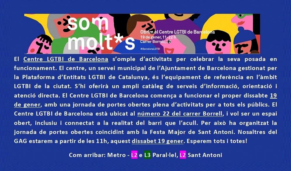 Inauguració – Centre LGBT de BCN – 19 gener