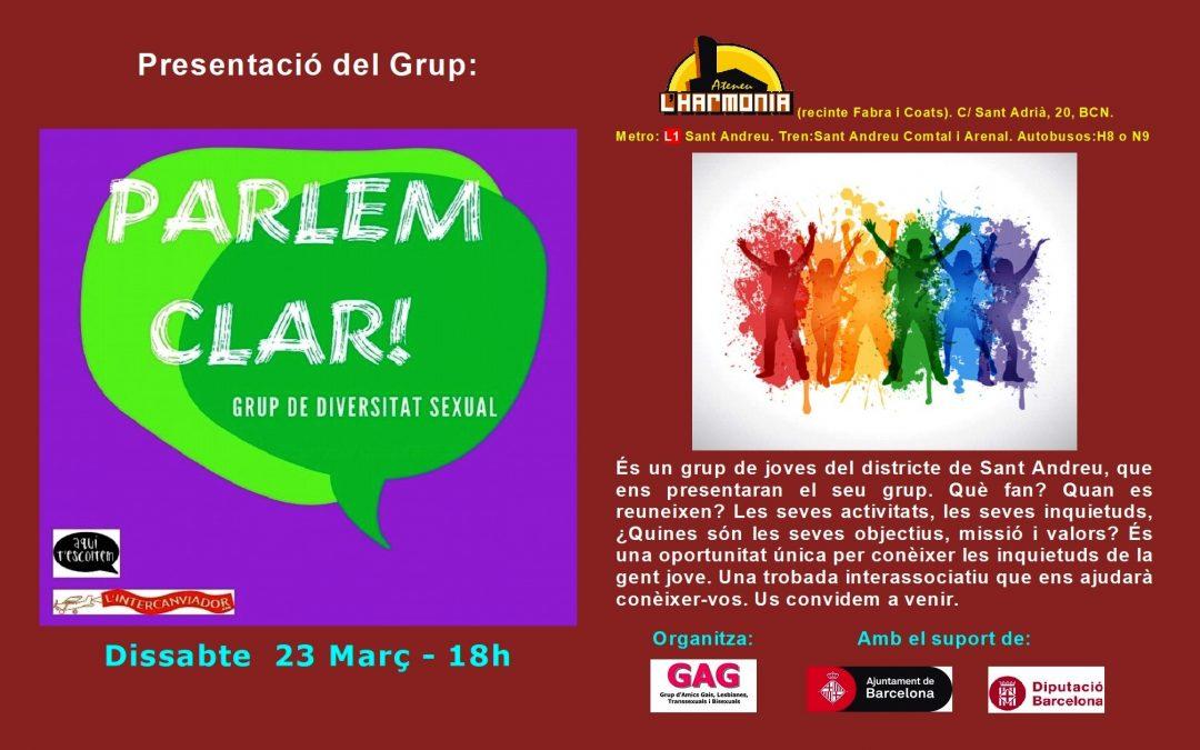 Presentación de la Asociación Parlem Clar – 23 Març – 18h