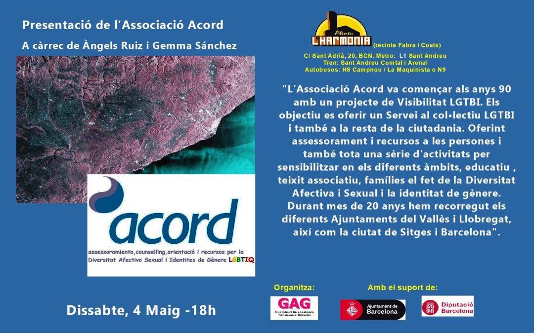 Presentació de l'Associació Acord – 4 Maig 2019 – 18h