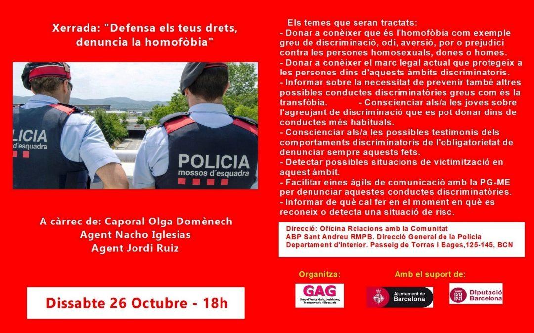"""Xerrada: """"Defensa els teus drets, denuncia l'homofòbia"""" – 26 Octubre – 18h"""