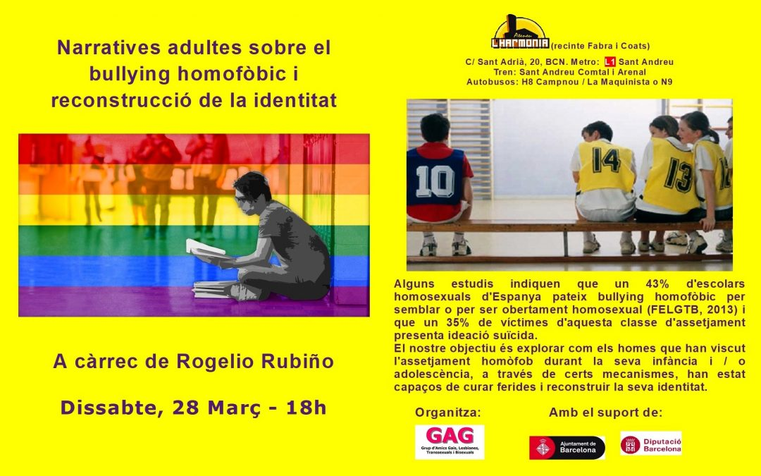 Charla sobre bullying homofóbico – 28 Marzo – 18h