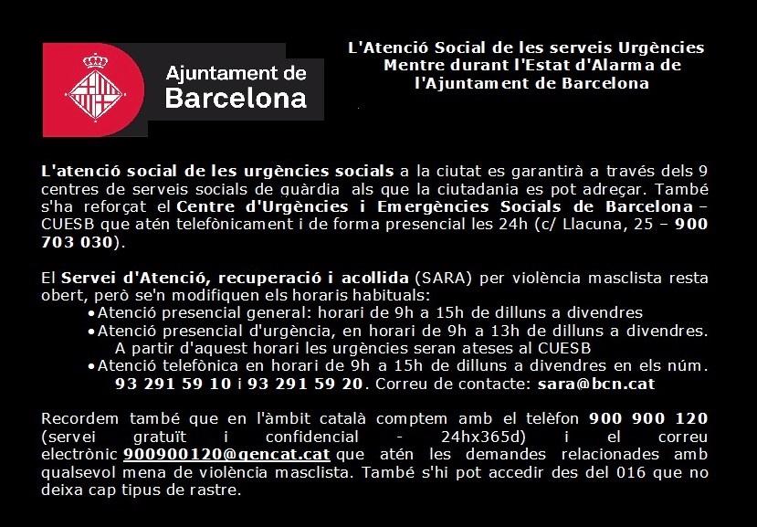 Servicios de Urgencia Social – Ayuntamiento de BCN