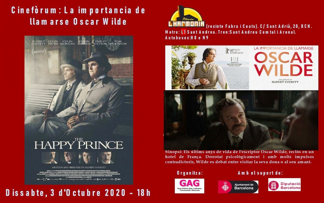 Cinefòrum: La importància de Oscar Wilde – 3 d'Octubre – 18h