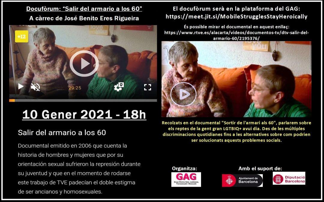 """Docufòrum: """"Salir del armario a los 60"""" – 10 Gener 2021 a les 18h"""