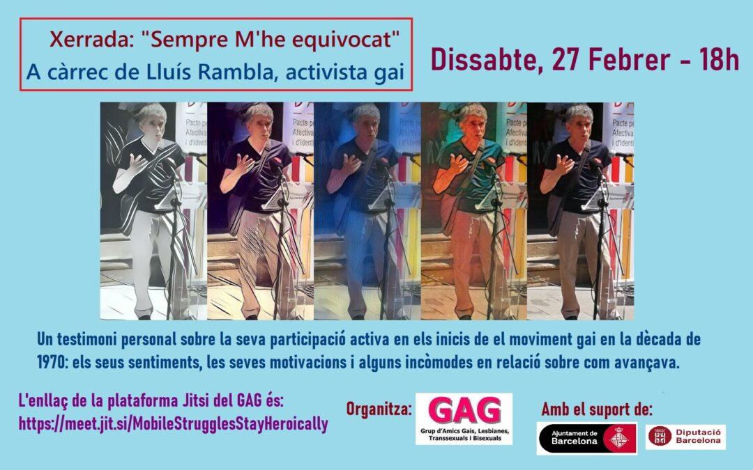 Xerrada de Lluís Rambla – 27 d'Febrer – 18h