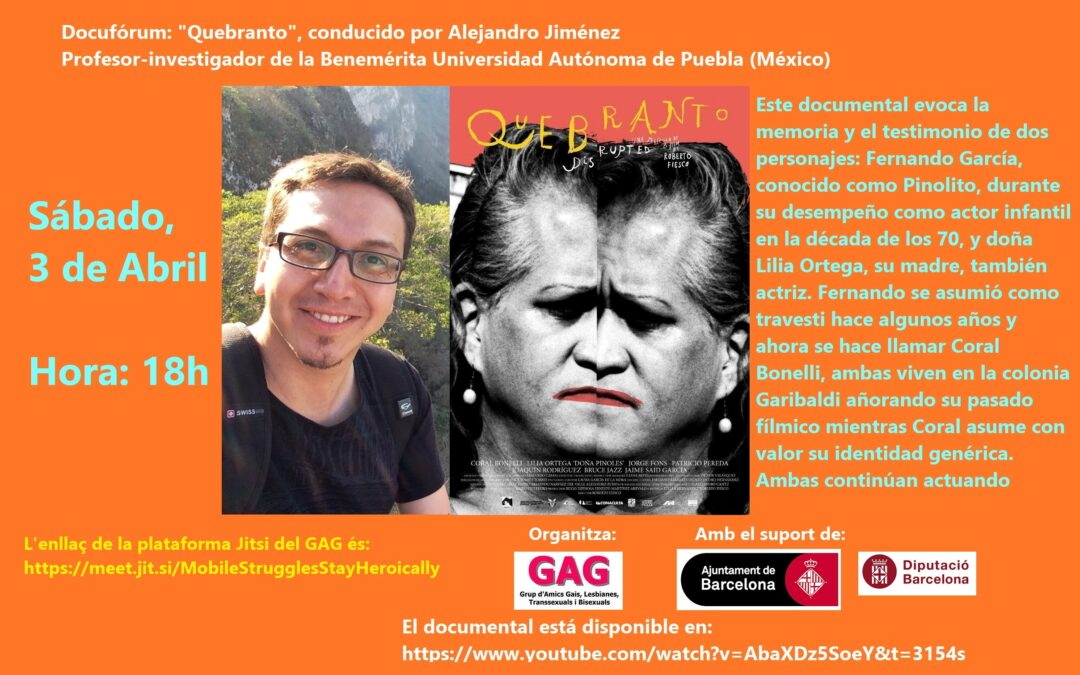 Sábado, 3 de Abril – 18h: Docufórum – Quebranto -, a cargo de Alejandro Jimenez