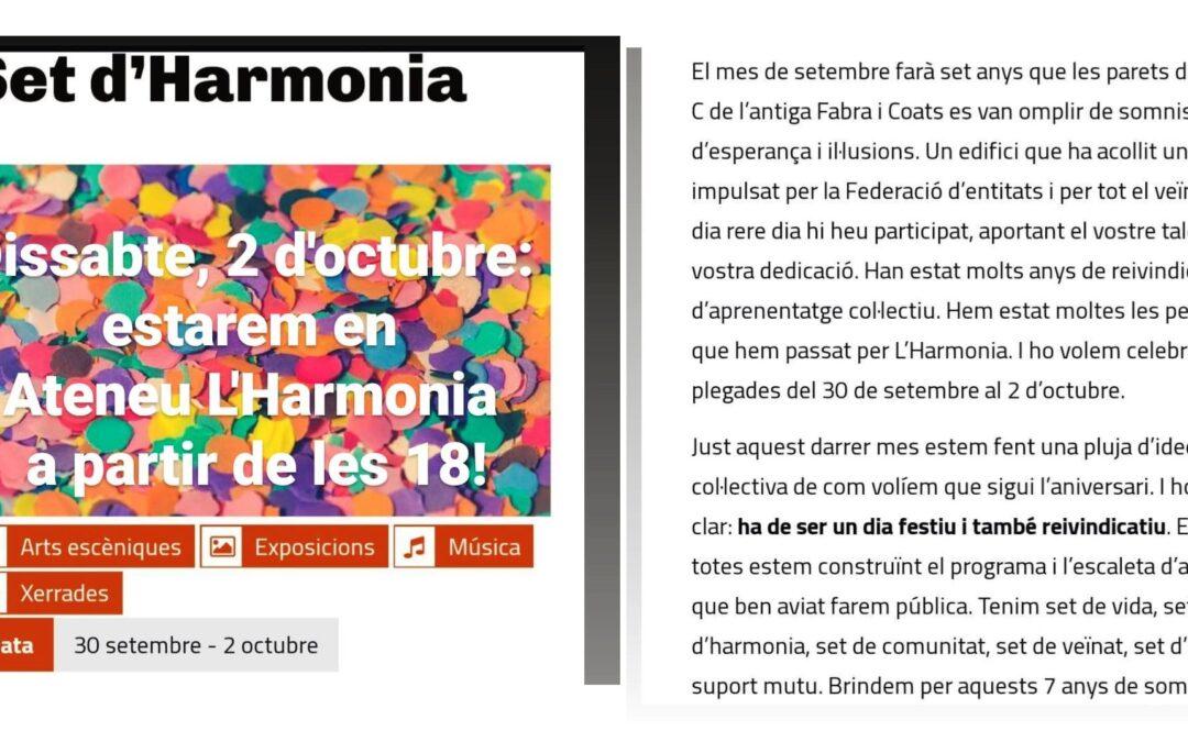 Dissabte, 2 d'octubre: estarem en Ateneu L'Harmonia (Fabra i Coats) a partir de les 18!