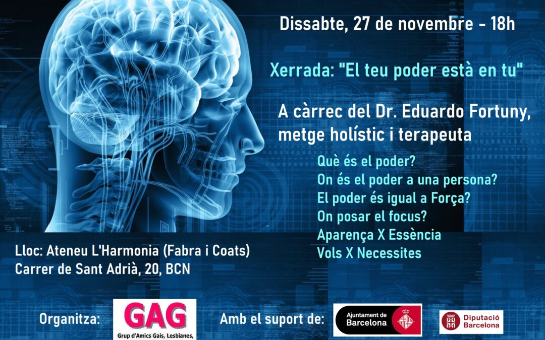 "Sábado, 27 de Noviembre – 18h : Charla- ""Tu poder está en ti"". A cargo del Dr. Eduardo Fortuny, médico holístico y terapeuta"